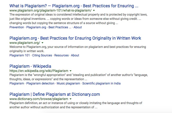 Allintitle - Plagiarism search on Google