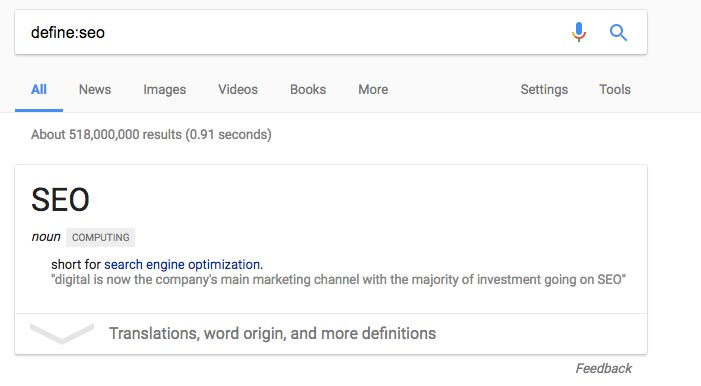 Define SEO on Google
