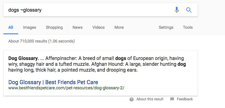 Dog Glossary on Google