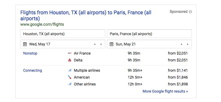 Houston to Paris Flights on Google