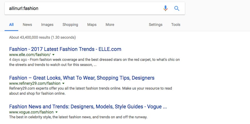 InURL - Fashion search on Google