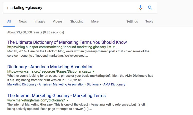 Marketing Glossary on Google