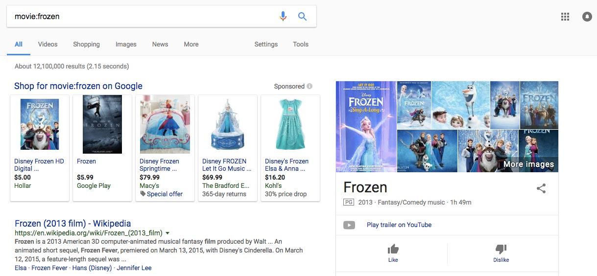 Frozen on Google